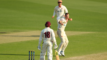 Nick Winter removed Usman Khawaja for a duck although the batsman wasn't happy with the decision