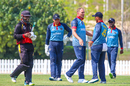 Christi Viljoen produced a double-wicket over in the 13th that included Tony Ura, Namibia v Papua New Guinea, ICC T20 World Cup Qualifier, Dubai, October 20, 2019