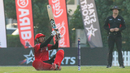 Navin Param scoops over fine leg for six late in his match-winning knock, Bermuda v Singapore, ICC Men's T20 World Cup Qualifier, Dubai, October 20, 2019