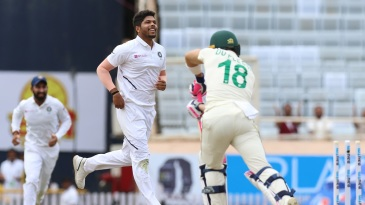 Umesh Yadav goes through the defence of Faf du Plessis