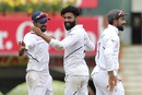 Ravindra Jadeja celebrates a dismissal with Shahbaz Nadeem, India v South Africa, 3rd Test, Ranchi, 3rd day, October 21, 2019