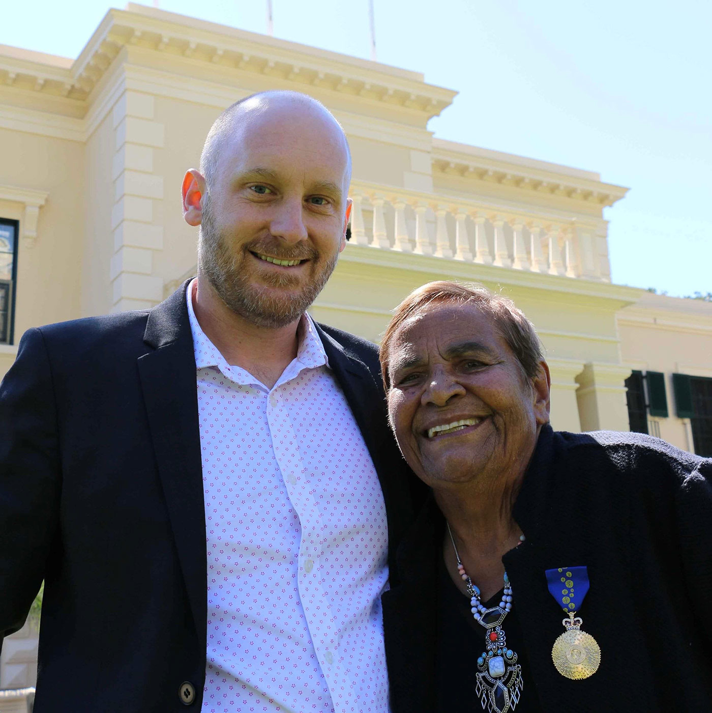 Thomas with Tyson Baird outside Government House in Adelaide