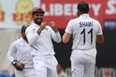 Mohammed Shami celebrates a wicket with Ajinkya Rahane, India v South Africa, 3rd Test, Ranchi, 3rd day, October 21, 2019