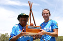 Megan Schutt of the Adelaide Strikers receives a trophy from Faith Thomas, Perth Scorchers v Adelaide Strikers, Women's Big Bash League, Alice Springs, January 13, 2019