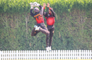 Kiplin Doriga and Charles Amini get big hang time celebrating a wicket, Papua New Guinea v Scotland, ICC Men's T20 World Cup Qualifier, Dubai, October 21, 2019