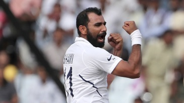 Mohammed Shami is pumped after picking a wicket