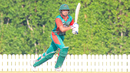 Dhiren Gondaria drives down the ground, Bermuda v Kenya, ICC Men's T20 World Cup Qualifier, Dubai, October 21, 2019
