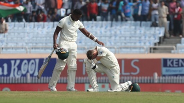 Lungi Ngidi was dismissed after his shot took a bizarre deflection off Anrich Nortje