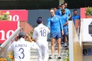 Virat Kohli and Faf du Plessis lead the team handshakes, India v South Africa, 3rd Test, Ranchi, 4th day, October 22, 2019