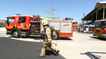The fire brigade arrive at Junction Oval
