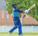 Niko Davin looks on after driving a six over mid-off, Bermuda v Namibia, ICC Men's T20 World Cup Qualifier, Dubai, October 23, 2019