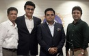 BCCI president Sourav Ganguly and other new BCCI office bearers -  joint-secretary Jayesh George (L), secretary Jay Shah (2R), and treasurer Arun Singh Dhumal - at the board's headquarters, Mumbai, October 23, 2019