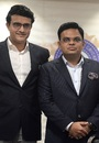 Newly-elected BCCI president Sourav Ganguly poses with secretary Jay Shah at a press conference, Mumbai, October 23, 2019