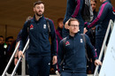 James Vince and Eoin Morgan arrive with the England squad for the tour of New Zealand, Christchurch, October 23, 2019