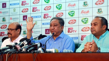 BCB president Nazmul Hassan speaks at a press interaction