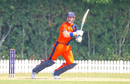 Timm van der Gugten drives through the off side during a crucial late cameo, Netherlands v Papua New Guinea, ICC Men's T20 World Cup Qualifier, Dubai, October 24, 2019