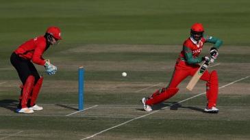 Oman's Aqib Ilyas bats during their Desert T20 Challenge match against Hong Kong