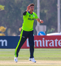 Mark Adair celebrates an edge to the keeper for another wicket, Ireland v Jersey, ICC Men's T20 World Cup Qualifier, Abu Dhabi, October 25, 2019