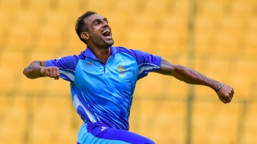 Abhimanyu Mithun picked up a hat-trick and his first List A five-for