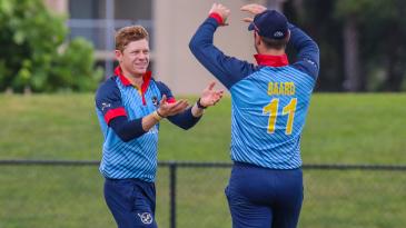 Bernard Scholtz gets congratulated after taking another wicket