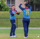 Bernard Scholtz gets congratulated after taking another wicket, Namibia v Papua New Guinea, Cricket World Cup League Two Tri-Series, Lauderhill, September 22, 2019