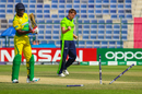 Craig Young bowls Chimezie Onwuzulike for the first of his four wickets, Ireland v Nigeria, ICC Men's T20 World Cup Qualifier, Abu Dhabi, October 26, 2019