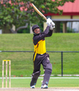 Norman Vanua drives a six high down the ground, Namibia v Papua New Guinea, Cricket World Cup League Two, Lauderhill, September 22, 2019