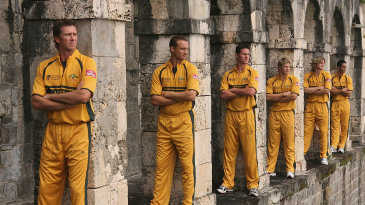 Glenn McGrath, Stuart Clark, Shaun Tait, Shane Watson, Nathan Bracken and Mitchell Johnson at a photo op