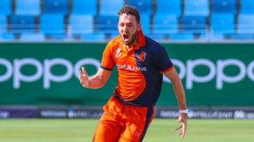 Paul van Meekeren erupts after claiming another big wicket