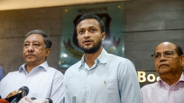 Shakib Al Hasan reads out a statement after the ICC ban was announced