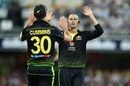 Ashton Agar and Pat Cummins celebrate Avishka Fernando's wicket, Australia v Sri Lanka, 2nd T20I, Brisbane, October 30, 2019