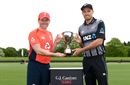 Eoin Morgan and Tim Southee pose with the series trophy, Christchurch, October 31, 2019