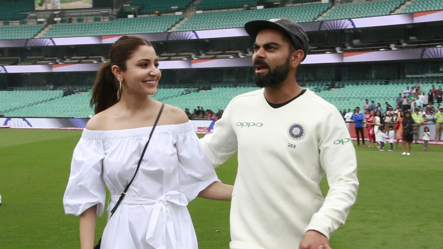 Anushka Sharma and Virat Kohli at the SCG after India won the Border-Gavaskar Trophy