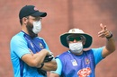 Daniel Vettori and Russell Domingo wearing face masks during a practice session, Delhi, November 1, 2019
