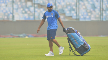 Rohit Sharma during a training session in hazy conditions