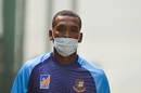 Al-Amin Hossain arrives for a practice session wearing a face mask, Delhi, November 1, 2019
