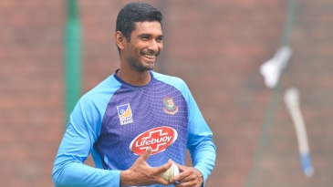 Mahmudullah gets ready to bowl during a practice session