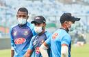 Al-Amin Hossain, Liton Das and Abu Hider wearing face masks during a practice session, Delhi, November 1, 2019