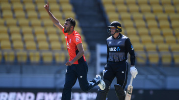 Saqib Mahmood celebrates his first international wicket