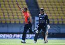 Saqib Mahmood celebrates his first international wicket, New Zealand v England, 2nd T20I, Wellington, November 3, 2019