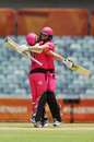 Ellyse Perry and Alyssa Healy are pleased as punch having put on an unbroken 199-run stand, Melbourne Stars v Sydney Sixers, WBBL, Perth, November 3, 2019