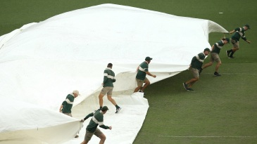Rain kept the groundstaff busy at the SCG