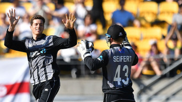 Mitchell Santner celebrates a wicket