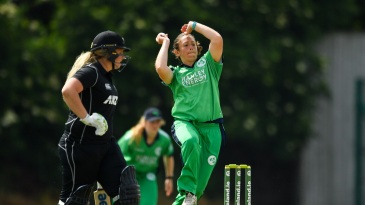 File photo: Amy Kenealy bowling for Ireland against New Zealand in 2018