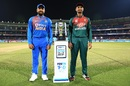 Rohit Sharma and Mahmudullah pose with the T20I trophy, India v Bangladesh, 2nd T20I, Rajkot, November 7, 2019