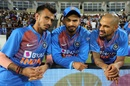 Yuzvendra Chahal, Shreyas Iyer and Shikhar Dhawan strike a pose, India v Bangladesh, 2nd T20I, Rajkot, November 7, 2019