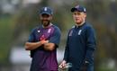 Matt Parkinson chats to England's spin consultant Jeetan Patel, England training, Napier, November 7, 2019