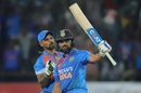 Shikhar Dhawan congratulates Rohit Sharma on his half-century, India v Bangladesh, 2nd T20I, Rajkot, November 7, 2019