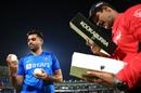 Deepak Chahar selects the ball for India, India v Bangladesh, 2nd T20I, Rajkot, November 7, 2019