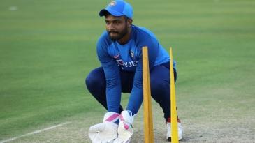 Sanju Samson does wicketkeeping practice